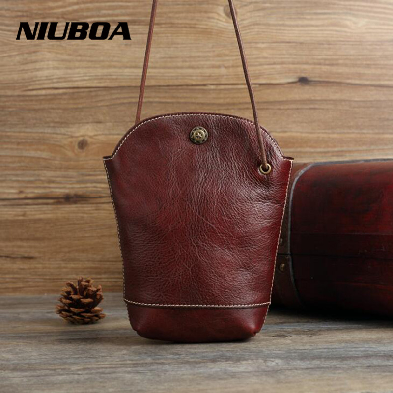 NIUBOA Vintage Genuine Leather Messenger Bag Mini Women Bucket Shoulder Bag Euro Style Summer Mob Manual Small Crossbody Bags niuboa soft genuine leather women tote bag leather vintage brand work handbag new euro women bucket bag elegant shoulder bags