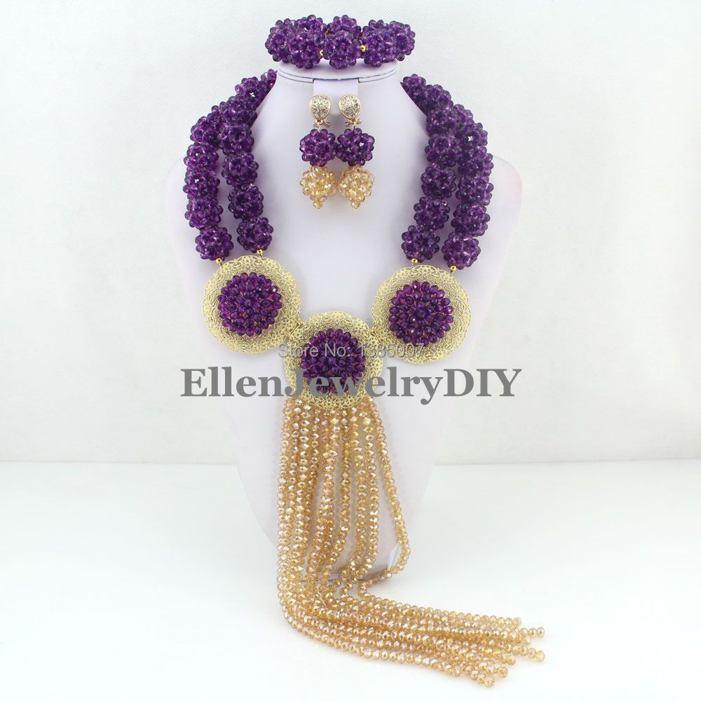 Nigerian Wedding beads Crystal Balls Necklace Bracelet Earrings Sets Costume Jewellry  African Beads Jewelry Set  W7485Nigerian Wedding beads Crystal Balls Necklace Bracelet Earrings Sets Costume Jewellry  African Beads Jewelry Set  W7485