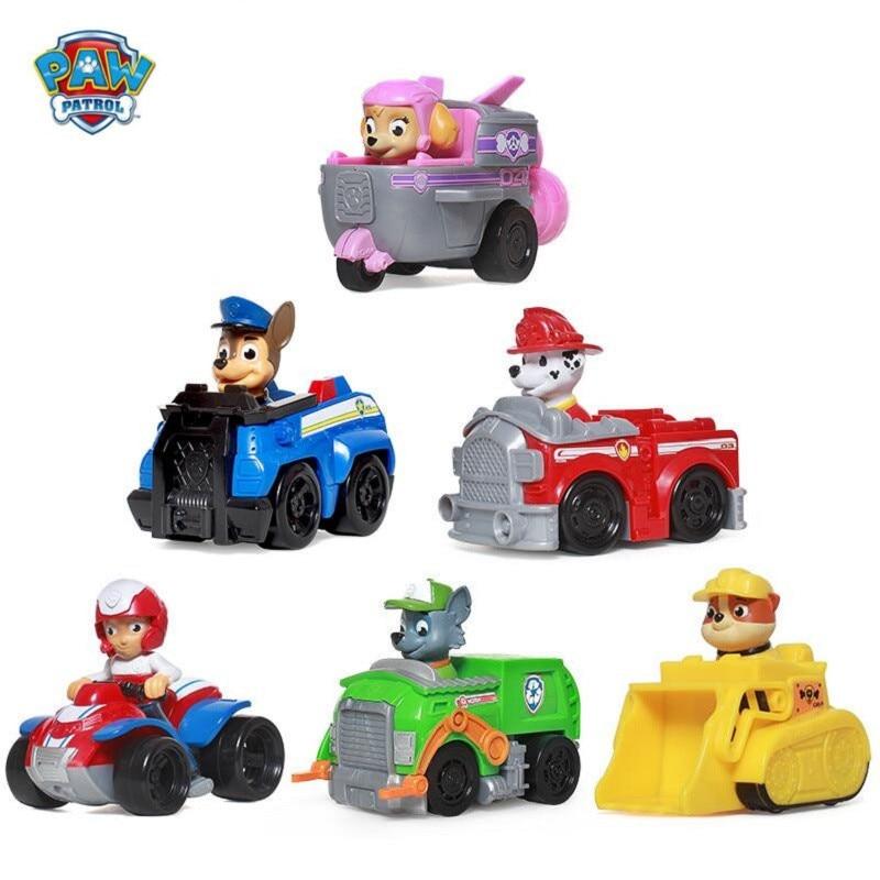 Patte Patrouille Chiot Chien de Patrouille de voiture patrulla canina Jouets Anime Figurine Voiture En Plastique Jouet Action Figure modèle Enfants Cadeaux jouets