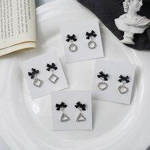 Korean Simple Heart Round Triangle Geometric Bow Knot Rhinestone Woman Girls Stud Earrings Fashion Jewelry Holiday-KQQE цена и фото
