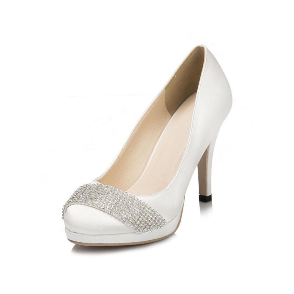 Round Toe White Ivory Rhinestone font b Women s b font Platform High Heels Wedding Heels