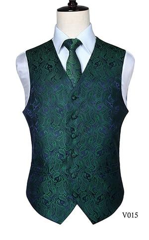 Men's Classic Paisley Jacquard Waistcoat Vest Handkerchief Party wedding Tie vest Suit  Pocket Square Set 5