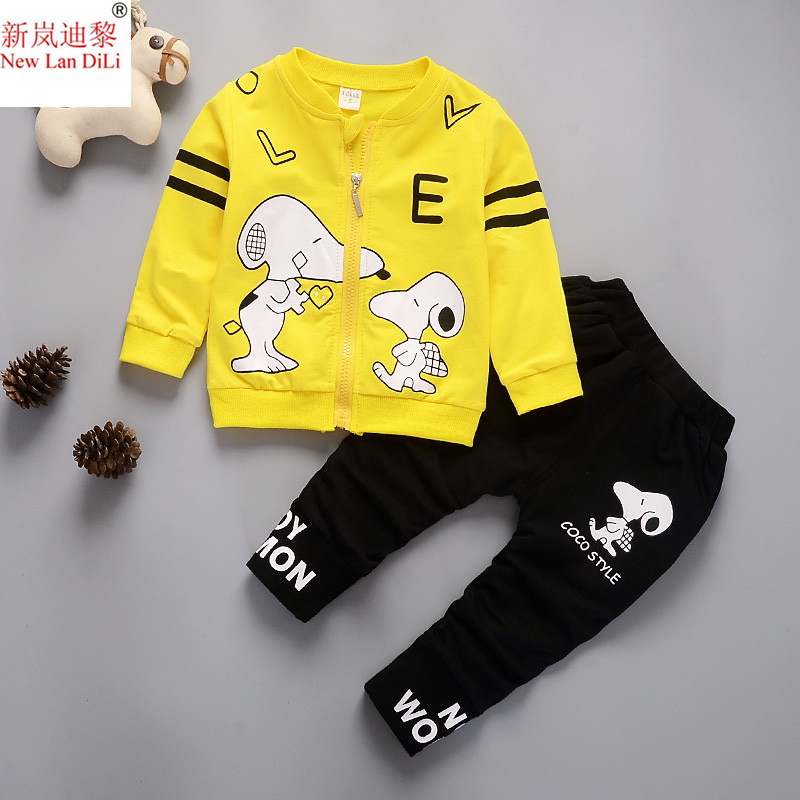 New Autumn Winter Baby Boys Girls Clothes thick cartoon Printing Coat+Pants Kids Sport Suit For Girls 2 Pcs Clothing Sets 1-5ys eoicioi 2017 new autumn winter baby boys girls clothing sets solid letters sport suits kids clothes 2pcs thicken hoodies pants