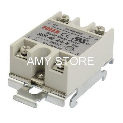 35mm DIN Rail Mount AC Control 40A Solid State Relay SSR SSR-40AA-H AC 80-280V to AC 90-480V single phase solid state relay 40a ssr 40aa 90 280v ac to 24 480v ac relay switch rele temporizador w aluminum heat sink plate