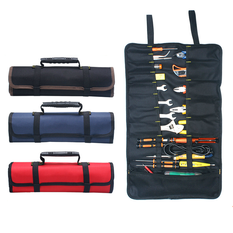 Multifunction Tool Kit Reel Kit Electrician Tool Bag High Quality Canvas Oxford Cloth Roll Package Portable Large Capacity Bags 14 inch oxford cloth canvas multifunction hand shoulder tool bag hardware repair kit