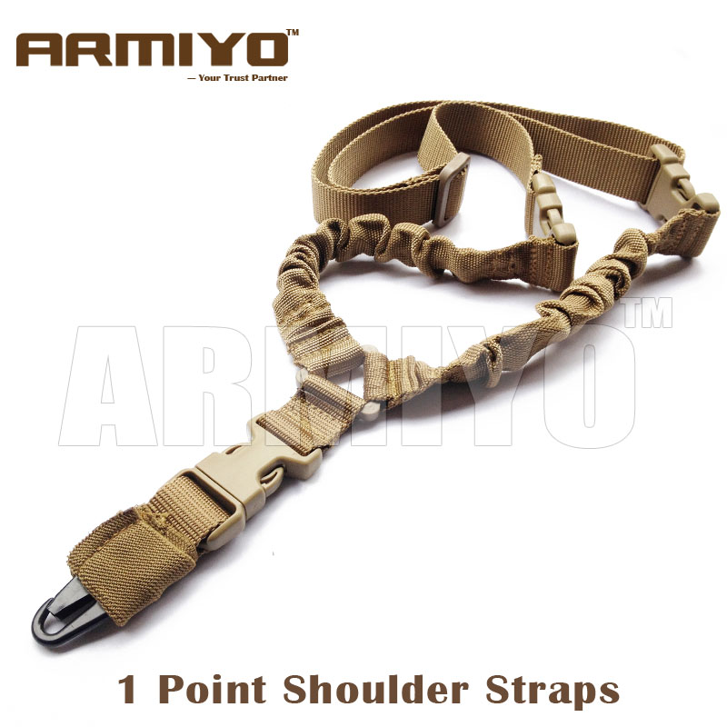 Armiyo Tactical US Heavy Duty 1000D Nylon 1 Single Point Dual Bungee Shoulder Strap Harnesses Hunting Shooting Accessories