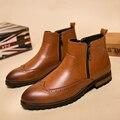 2016 Hombres Botas Hombres de la Marca Botines de Cuero de Alta Calidad Diseño Tallado Botas de Vaquero de Los Hombres de Cuero Suave ocasional Zapatos Martin botas