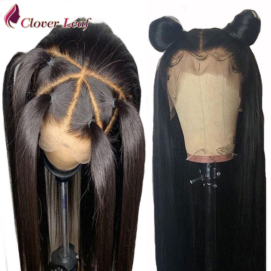 Frontal Wigs Human-Hair Pre-Plucked Straight Peruvian For Woman 13--4