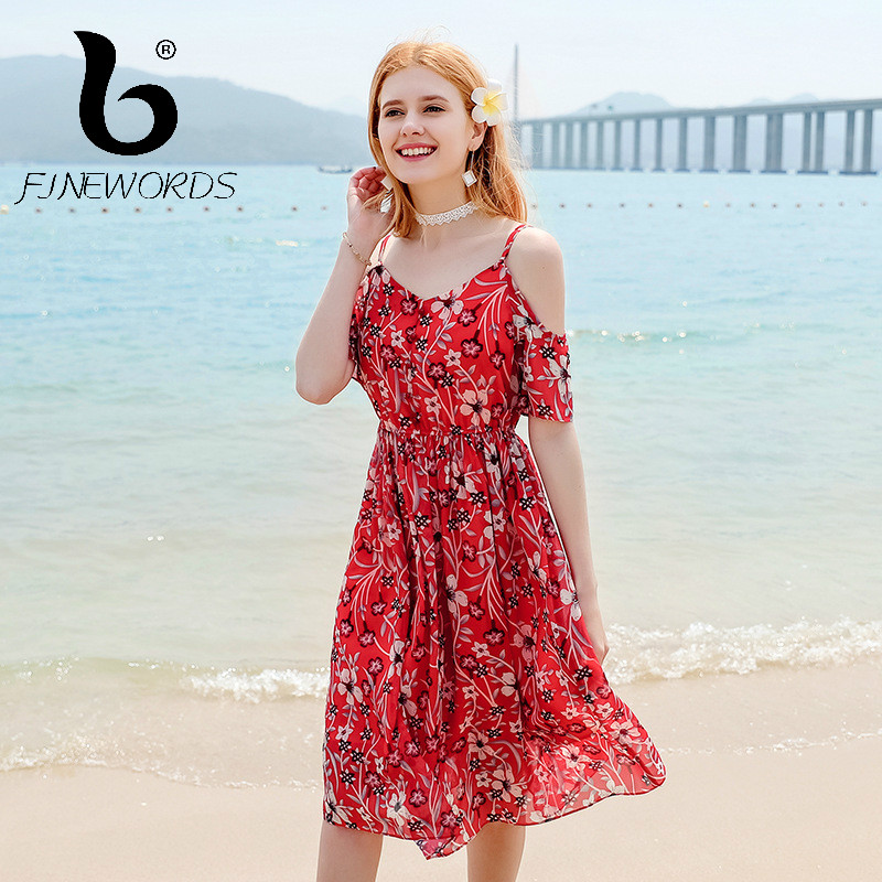 1b844d4ae0 FINEWORDS 2018 vestido Summer Floral Print Chiffon Dress Women Elegant  Vintage Causal Sexy Strapless Plus Size Loose Beach Dress