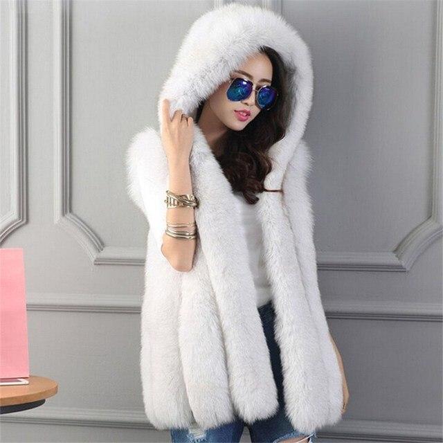 2017 Новый Зима Женщины Серый Капюшоном Из Искусственного Фокс Меховой Жилет женской Моды Роскошь Тонкий Пальто Куртка Толстые Теплые Меха Жиле пальто