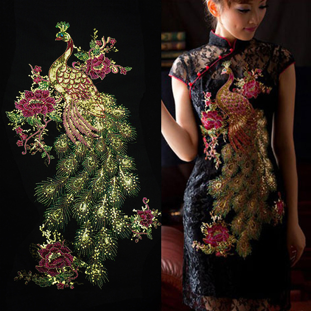 Gold Phoenix Embroidered Patch Sequined Peacock Applique Fabric Apparel  Flower Fabric Patches for Qipao Dress Ethnic Clothes Diy 0624bc0a01e6