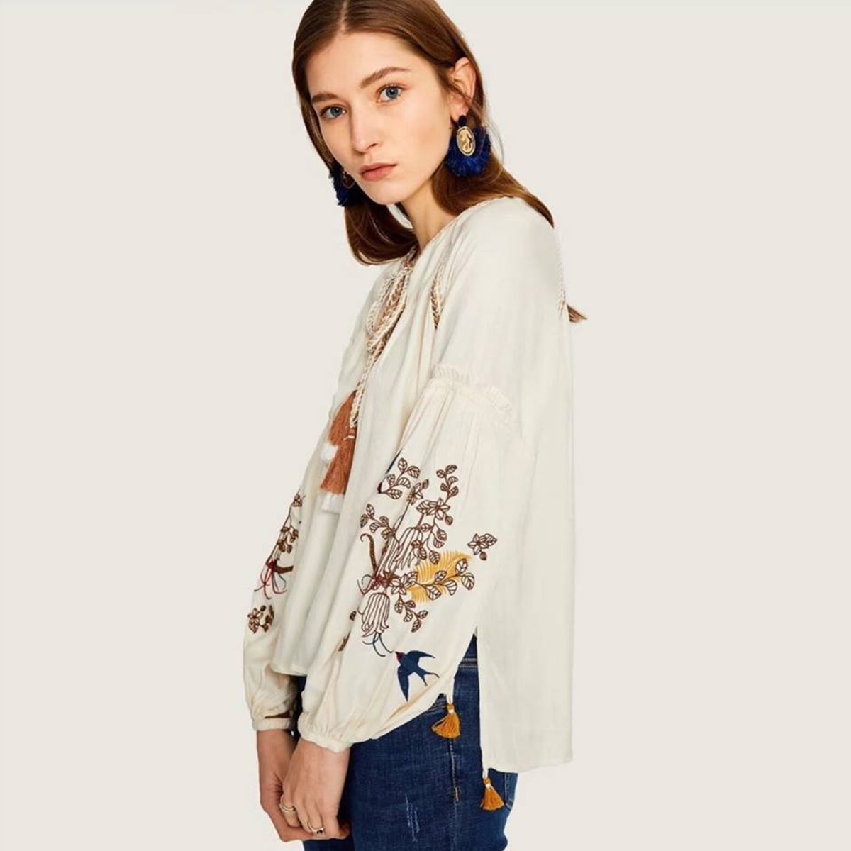 Jastie V-Neck Tassel Tie Embroidered   Blouse     Shirt   Boho Hippie Loose Casual Top Long Lantern Sleeve Autumn   Shirts   Top Blusa 2018