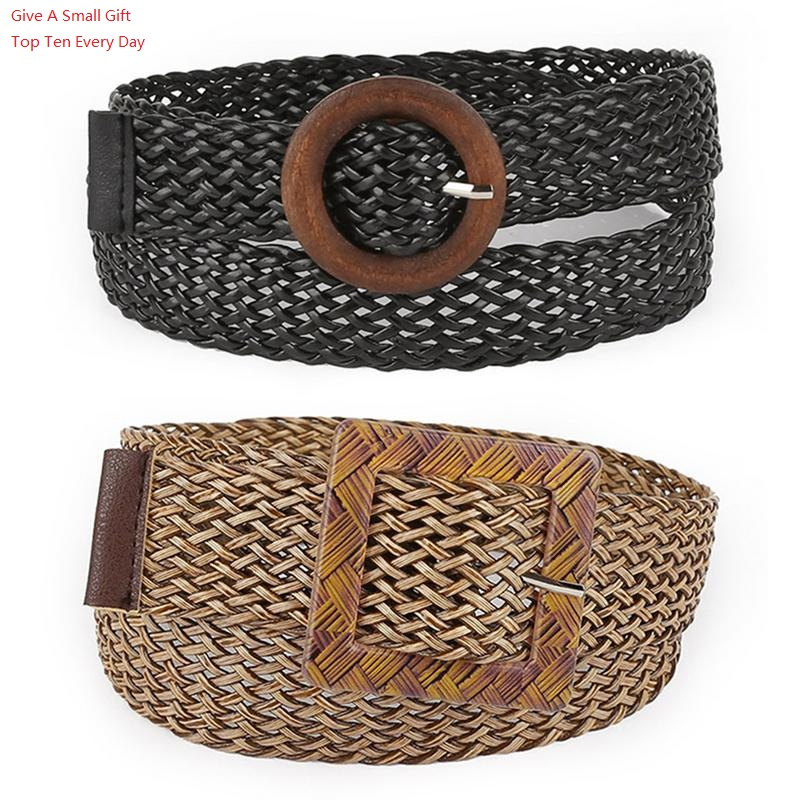 2019 Woven   Belt   For Women Jeans Dress Pants Solid Color Waist   Belt   Hollow Ethnic Style Round Buckle Wild Decoration   Belt