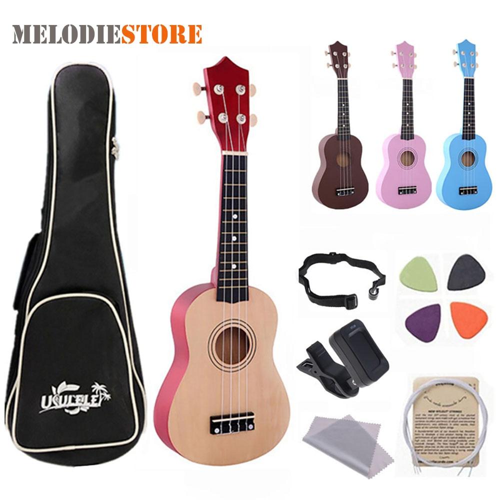 21 Inch Ukulele Hawaii Four String Guitar for Beginner Children Christmas Gifts + Ukelele Strings Picks Bag Strap Tuner