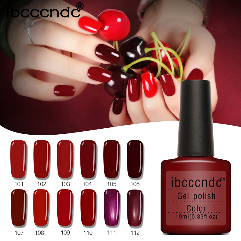 12Pcs/Lot 10ML Wine Red Series Set For Nail Gel Polish Soak Off Gel Polish With UV Lamp Nail Polish Gel Varnish With Gift Box