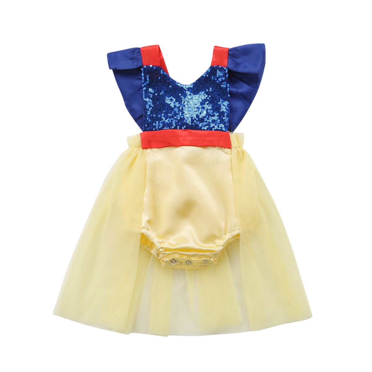 Sequins Newborn Baby Girl Ruffles Sleeveless Backless Bowknot Tulle Skirted   Romper   Jumpsuit Outfits Princess Baby Clothes