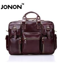 JONON 100% Cowhide Leather Men Messenger Bags Briefcase Shoulder Bag Genuine Leather Handbag Crossbody Bolsa Laptop Bag WHB058