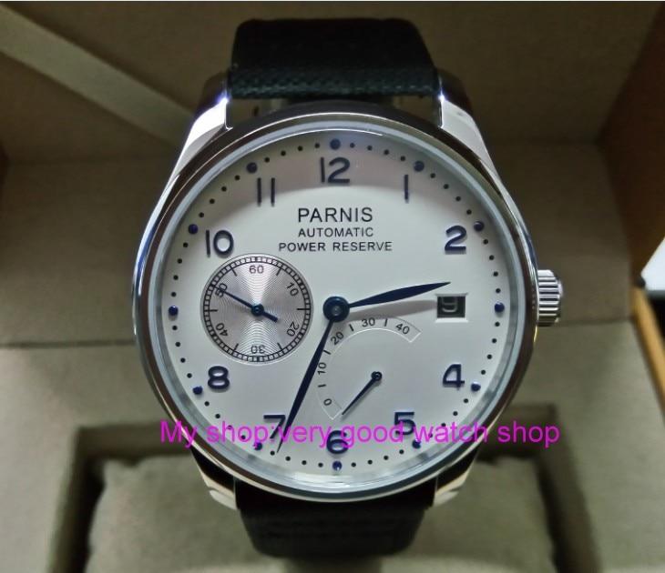 Здесь продается  43mm PARNIS White dial power reserve Automatic Self-Wind Mechanical movement Auto Date men