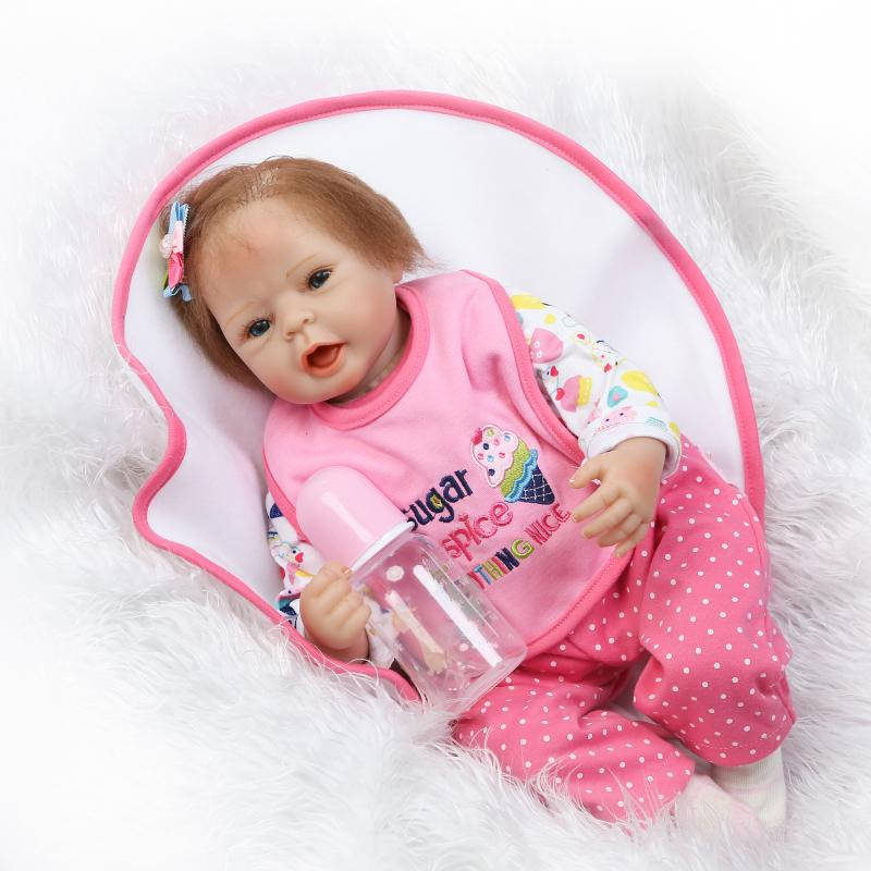 free shipping 22inch reborn baby doll lifelike soft silicone real touch blue eyes girl doll for children gift on Christmas nicery 18inch 45cm reborn baby doll magnetic mouth soft silicone lifelike girl toy gift for children christmas pink hat close