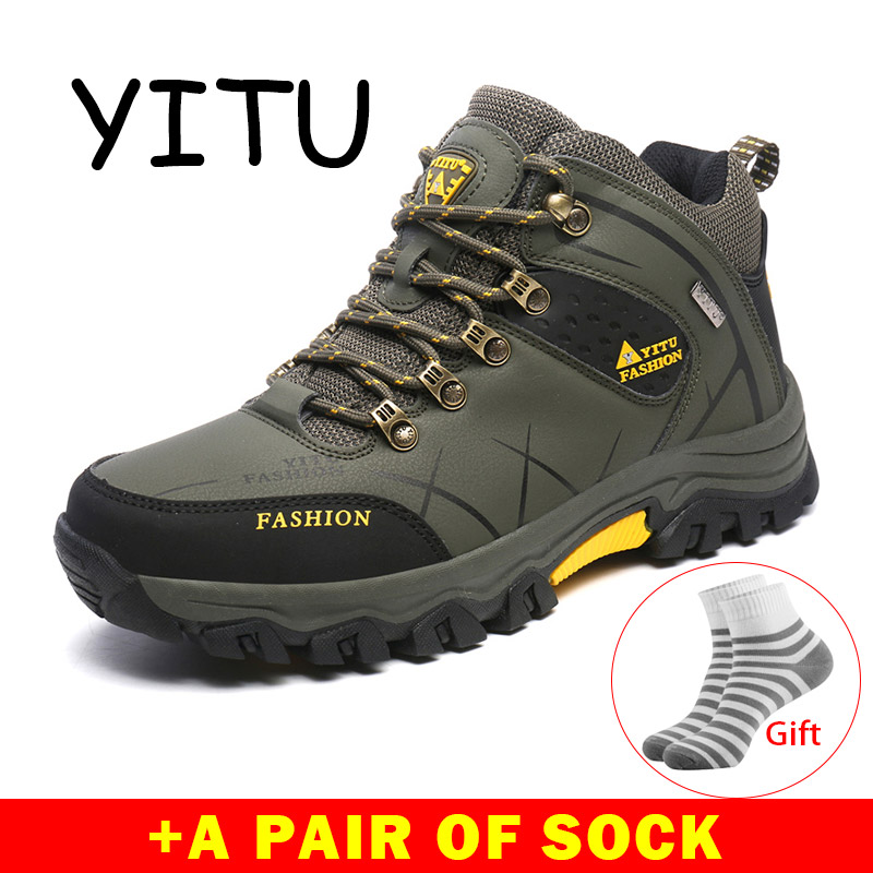 YITU Man Sneakers Sport Hunting Hiking Boots Men's Outdoor Hiking Shoes Breathable Trekking Non-Slip Climbing Shoes Waterproof