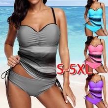 Tankini Sets Met shorts 2018 Zomer Vrouwen Twee Stukken Badmode Retro Print Badpakken Bikini Push Badpakken Plus Size 5XL