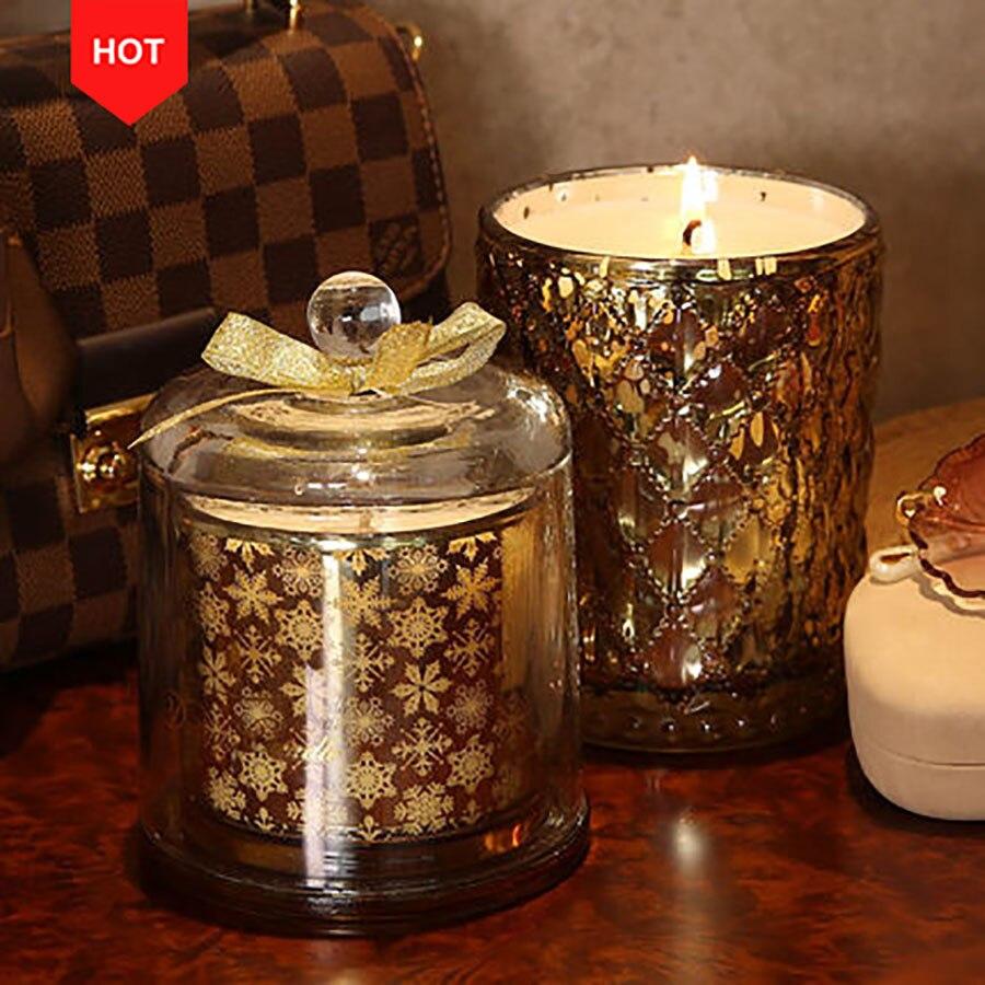 Huile or mariage bougie fête romantique cadeau sans fumée cire décorative bougies thé lumière Candele bougies parfumées en verre 30C0025
