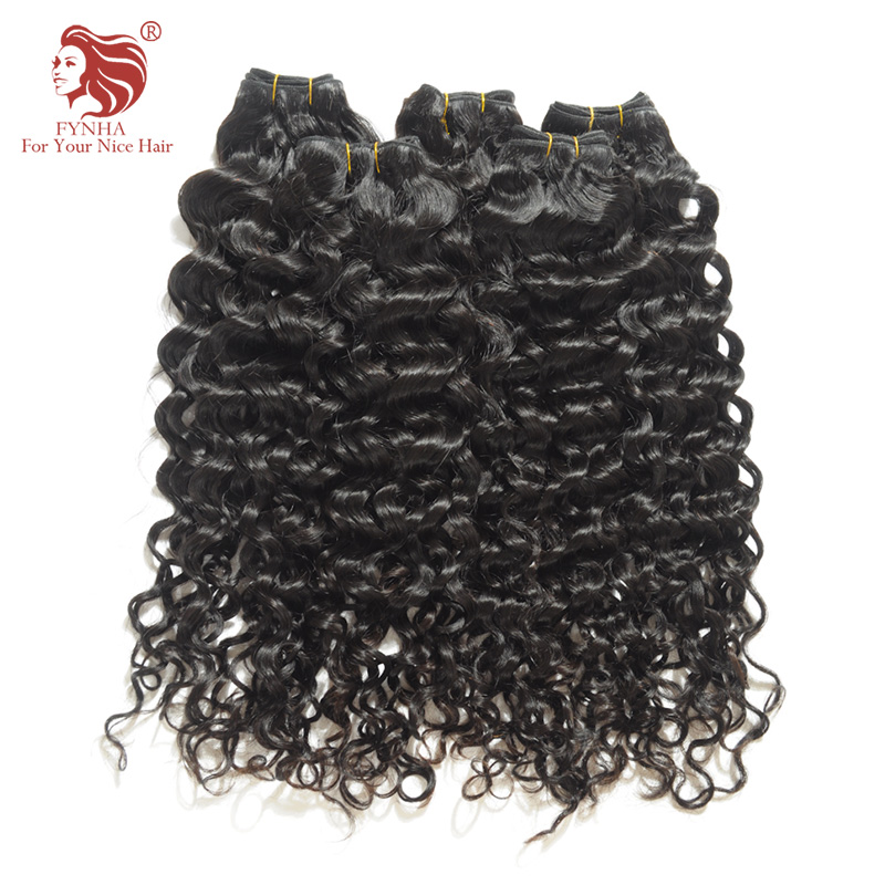 [FYNHA] Bouncy Curly Weave Brazilian Remy Hair 4 Bundles Human Hair Extensions Natural Black 10-30inch