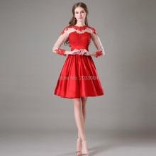 Red Long Sleeves Kurzes Kleid Für Prom Kleid 2016 Maß Cocktailkleider 2015
