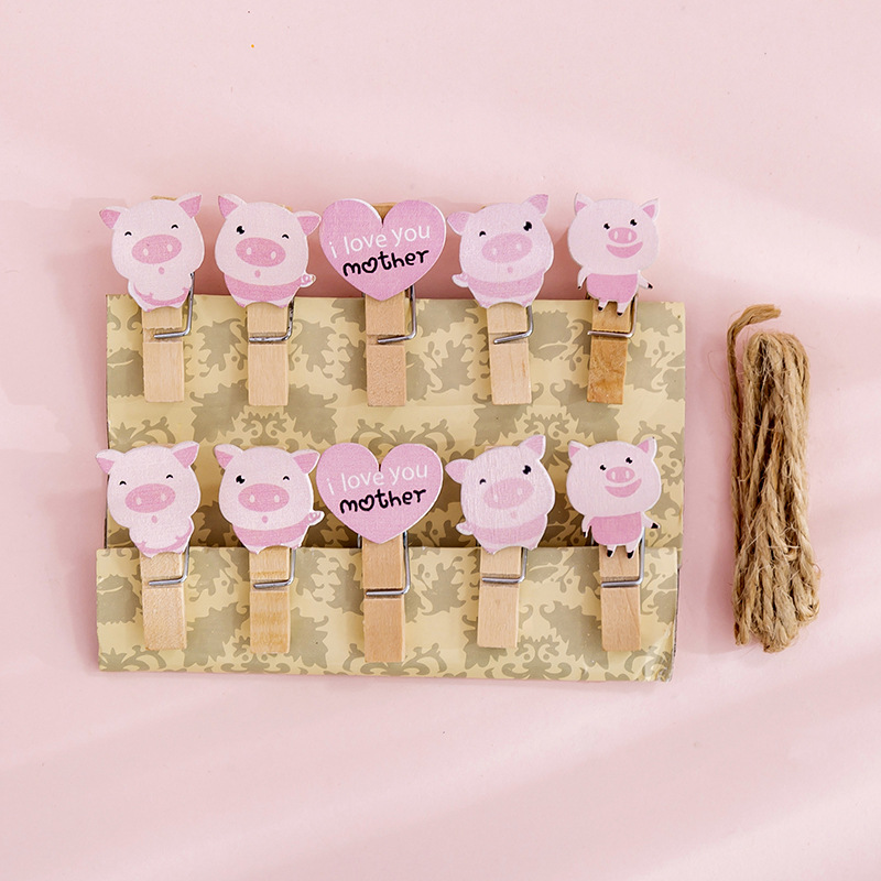 10 Pcs/pack Heart Pig Wooden Clip Photo Craft DIY Decoration Notes Letter Paper Clip With Hemp Rope Office School Supplies