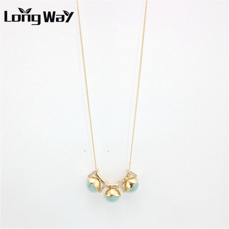 9a93f2e6fac9 Longway nuevo diseño de moda hecha a mano de la turquesa collares y colgantes  joyería de las mujeres collar de color oro envío libre sne160139