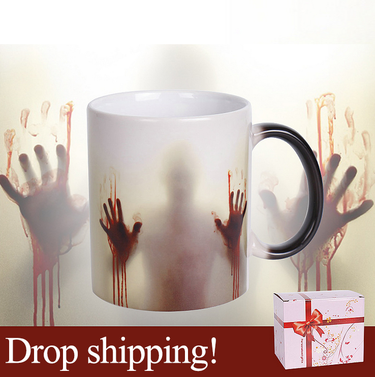 Drop Shipping Newest Design Zombie Magic Color Changing Coffee Mug printing with Walking Dead Bloody hands