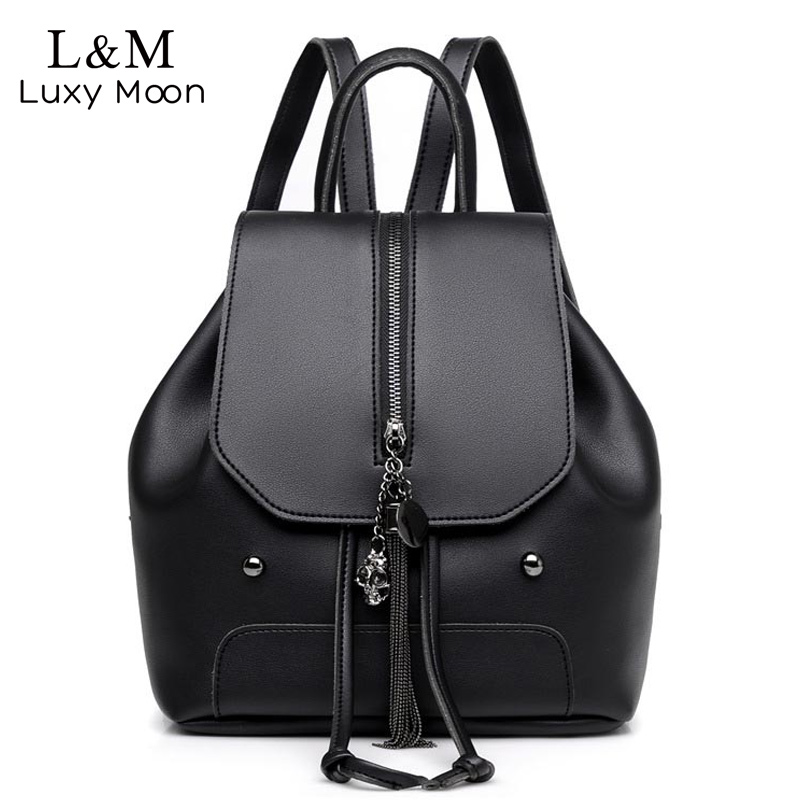 цена на Vintage Backpack Women Leather Rucksack Skull Tassel Backpacks PU Leather School Bag For Teenage Girls Bags Black mochila XA957H