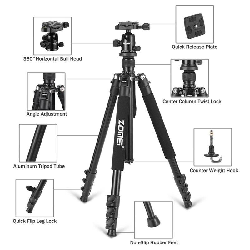 Zomei Q555 Professionnel Trépied En Aluminium Flexible Caméra Portable Trépied Stand Tripes avec Rotule pour appareil photo REFLEX NUMÉRIQUE Smartphones - 3