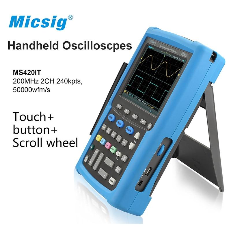 Micsig 100 мГц 200 мГц 2CH осциллограф ручной осциллографа цифровой осциллограф виртуальный Osciloscopio portátil MS400 серии