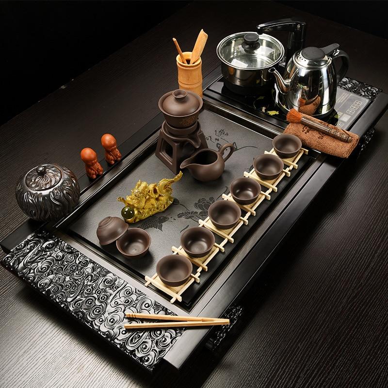 Ensemble de thé chinois en porcelaine bleue et blanche kung fu d'un ensemble complet de tasse à soupière