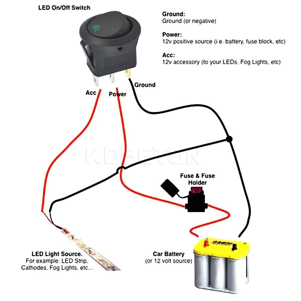 1pcs SPST Switch 12V led rocker switch Led Dot Light 3 pins ON OFF ...