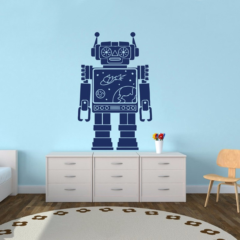 d69131b9cde6 Robot Space Vinyl Sticker Decals Nursery Baby Room Kids Boys Girls Home  Decor Bedroom Art Design