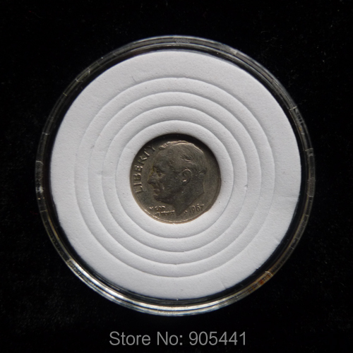 10 Coins Capsule Holder Coin Protection Case Fit For US Dime Fit For Diameter 17mm 22mm 27mm 32mm 37mm Round White Sponge