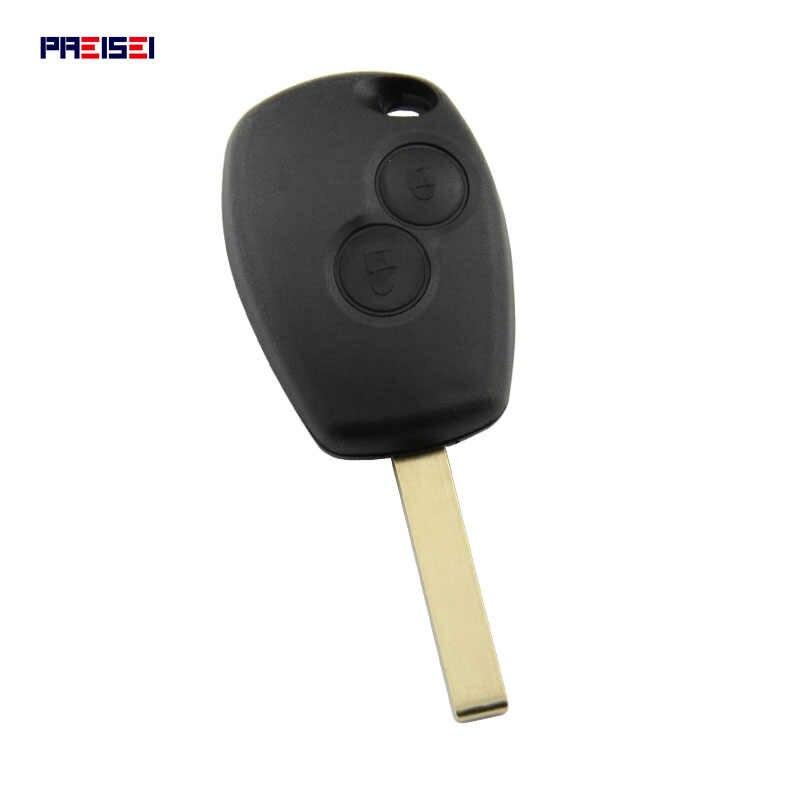PREISEI 20 unids/lote Sin Logo 2 botones llave de coche control remoto carcasas para llave Renault reemplazar con Clip de batería
