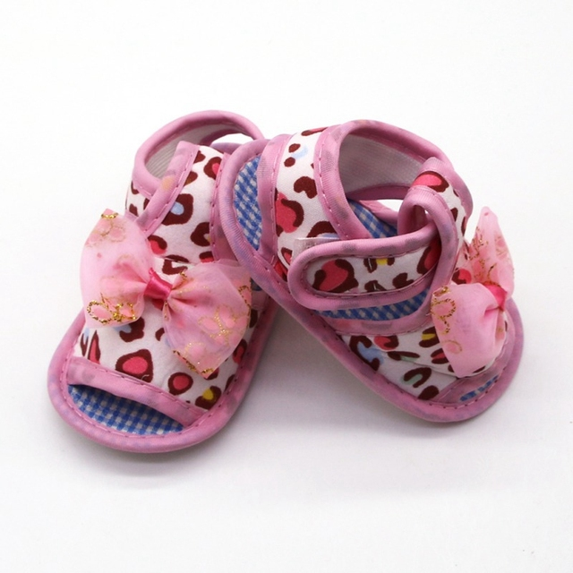 2019 Infant toddler sandals solid color bow cotton shoes leopard print sandals baby toddler shoes for 0-18M 5