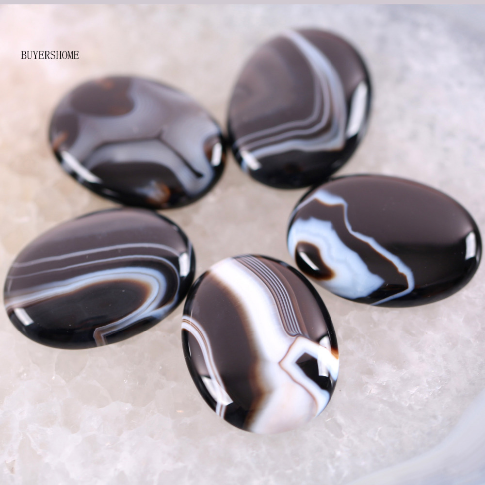 Free Shipping New without tags Stone 30x40MM Natural Black Onyx Bead CAB Cabochon 1Pcs RK1705