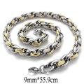 Pulido pesado hombres Joyería Neckalces Collar Trenzado de Cuerda de Oro de Plata de Acero Inoxidable de Tungsteno Longitud 55.9 cm Ancho 0.9 cm