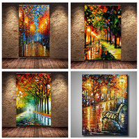 Hand-painted 3D Knife Streetscape Oil Painting On Canvas Abstract Night Scenery Pictures Wall Art Street Landscape Paintings