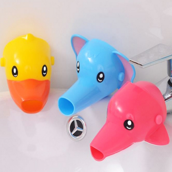 Chidlren Cartoon Sink Baby Bath Tap Animal Bathroom Kitchen Faucet Extender  For Kids Washing Hands Wash Silicone Shampoo Cap In Bathroom Accessories  Sets ...