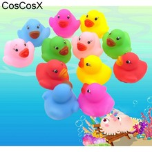 12pcs Kawaii Mini Colorful Rubber Float Squeaky Sound Duck Bath Toy Baby Bathroom Water Pool Funny Toys for Girls Boys Gifts(China)