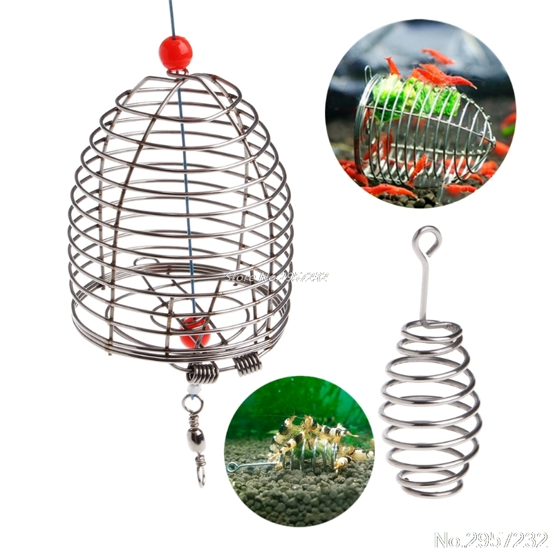Aquarium Shrimp Small Bait Feeder Dry Spinach Feeding Stainless Steel Cage S/L yy56