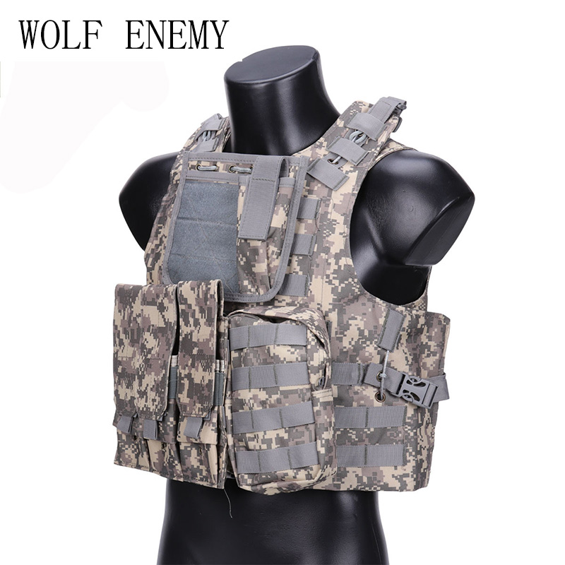 WOLF ENEMY Camouflage Hunting Military Tactical Vest Wargame Body Molle Armor Hunting Vest CS Outdoor Jungle Equipment with