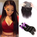 10A Malaysian Straight Hair With Closure 360 Pre Plucked Lace Frontal With Bundles 360 Lace Frontal With Bundle Straight Hair