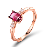 Anniversary Ring Solid 18Kt Rose Gold Natural Diamond Pink Tourmaline Ring For Women Fine Jewelry Gift