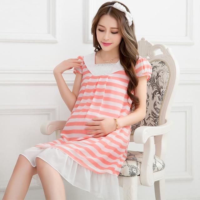 3c47b8fa85e9c Summer maternity clothing Korean stripe chiffon dresses for pregnant  square-cut collar short sleeve puff cuff maternity dresses